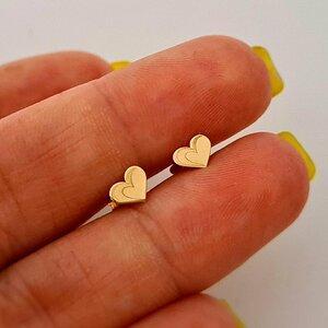 Cercei copii/bebe - Model inima - Aur Galben 14K - Inchizatoare sigura si confortabila cu filet