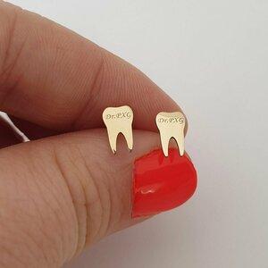 Cercei dinte - Aur Galben14K - inchidere surub