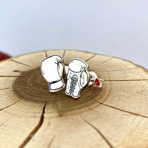 Cercei personalizati - Manusi de box - Argint 925 - inchidere surub