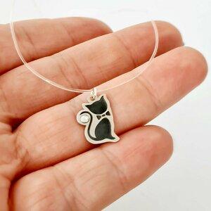 Choker cu pisica si cristal Swarovski - Argint 925 - Lant silicon