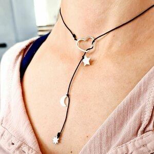 Colier lariat Y - 4 pandantive -  Inima si 3 piese la alegere - Argint 925 - cu snur rezistent
