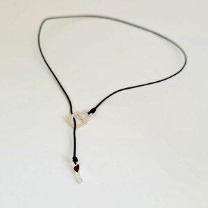 Colier lariat Y - Lacat si cheie decorata cu email colorat -  Argint 927 - Snur negru rezistent