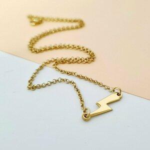 Lantisor choker - Pandantiv fulger - Argint 925 placat cu Aur Galben 14K