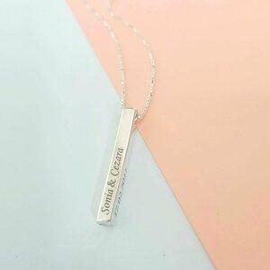 Lantisor cu pandantiv bara plina argint masiv personalizata - Argint 925