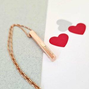 Lantisor cu pandantiv bara plina argint masiv personalizata - Argint 925 placat cu Aur roz 14k
