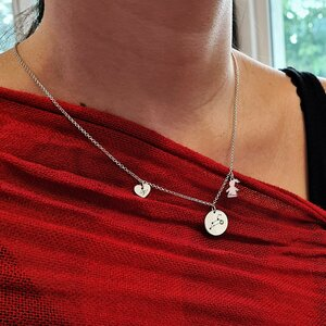 Lantisor personalizat - 3 Elemente - Banut cu constelatie, inima cu initiala si silueta cu nume - Argint 925 - Cristal Swarovski