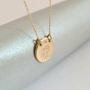 Lantisor personalizat cu Diamant natural - Cuplu sarut dulce - Banut 12 mm - Aur Galben 14K