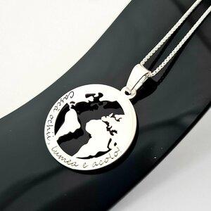 Lantisor personalizat cu mesaj -  Pandantiv Globul Pamantesc 2D - Argint 925