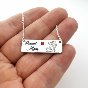 Lantisor personalizat cu pandantiv placuta - Proud mom - Argint 925 - Cristal Swarovski