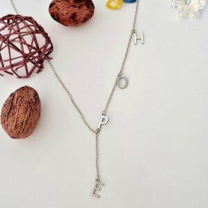 Lantisor personalizat - Cuvant HOPE - Model lariat Y - Argint 925
