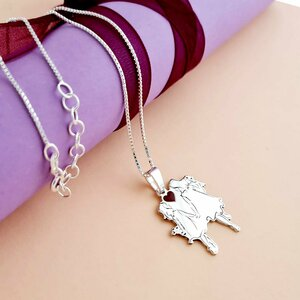 Lantisor personalizat decorat cu email - Model armonie - Mama si fiica - Argint 925