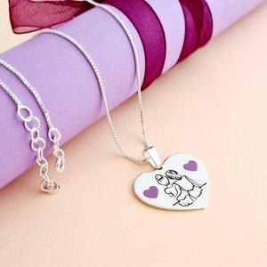 Lantisor personalizat - Inima 2 Surori / Prietene decorata cu email - Argint 925