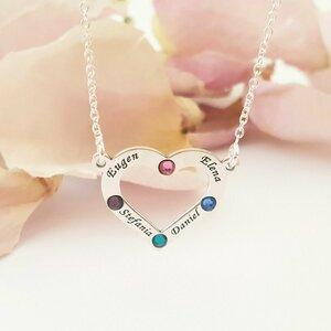Lantisor personalizat - Iubire nelimitata - Pandantiv inima - 4 nume gravate si cristale Swarovski - Argint 925