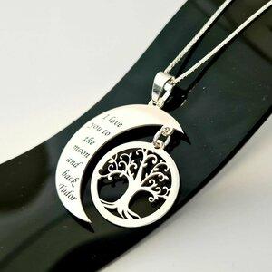 Lantisor personalizat - Luna si copacul vietii - Argint 925