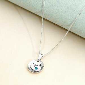 Lantisor personalizat - Pandantiv convex si inima gravata cu cristal Swarovski - Argint 925