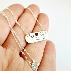 Lantisor personalizat si decorat cu email colorat - Iubire pe fir - Argint 925