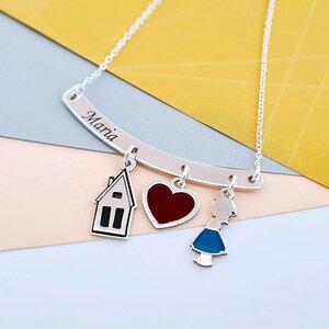Lantisor personalizat si decorat cu email colorat - Pandantiv bara cu 3 piese atasate  - Argint 925