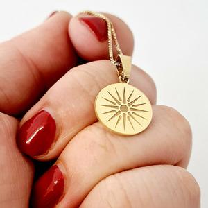 Lantisor personalizat - Soarele Vergina - Argint 925 placat cu Aur Galben