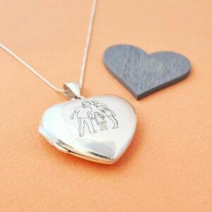 Medalion inima 35 mm cu poza in interior - Gravura personalizata - Argint 925