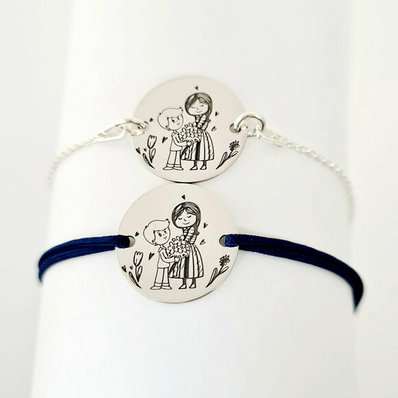 Set 2 bratari personalizate - Mama si fiu - Banuti de 15 mm  - Argint 925 - snur reglabil pentru fiu si lantisor pentru mama