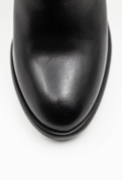 Botine negre din piele naturala cu toc inalt