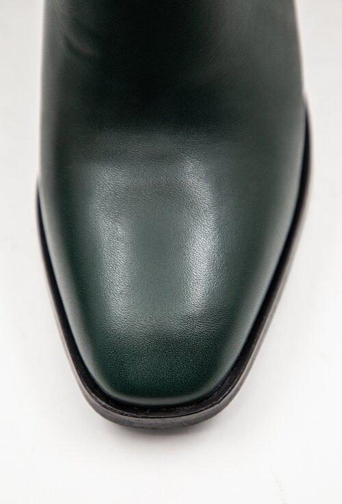 Botine nuanta verde inchis din piele cu toc patrat