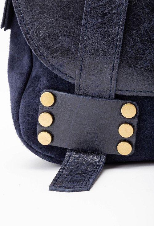 Geanta bleumarin din piele cu bareta tip postas