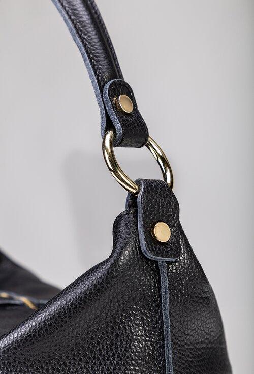 Geanta casual neagra din piele naturala texturata cu maner
