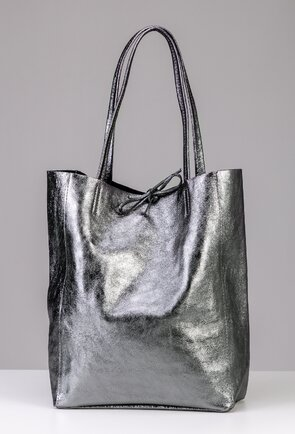 Geanta shopper argintie din piele naturala