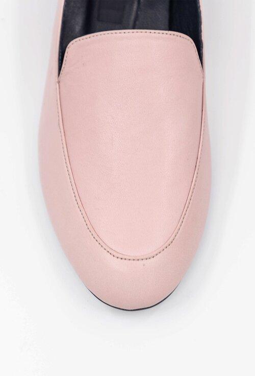 Mocasini nuanta roz pal din piele