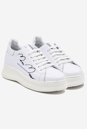 Pantofi albi din piele naturala cu scris negru