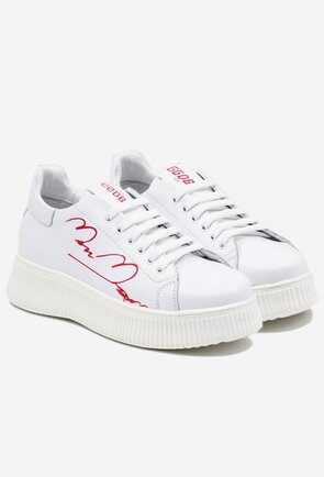 Pantofi albi din piele naturala cu scris rosu