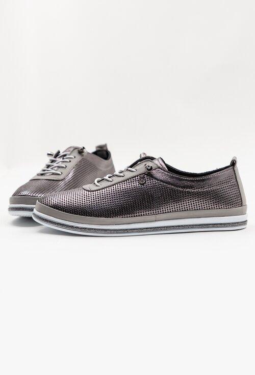 Pantofi casual argintii din piele