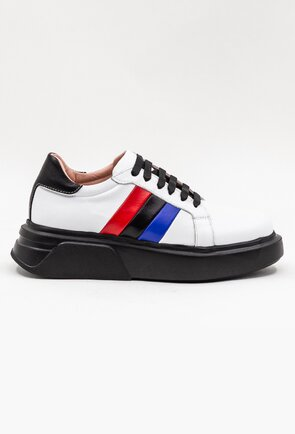 Pantofi casual din piele naturala cu talpa neagra
