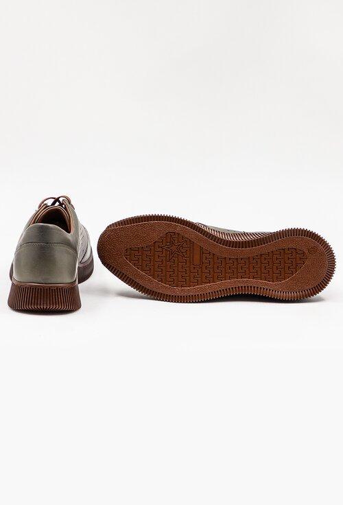 Pantofi casual verzi din piele
