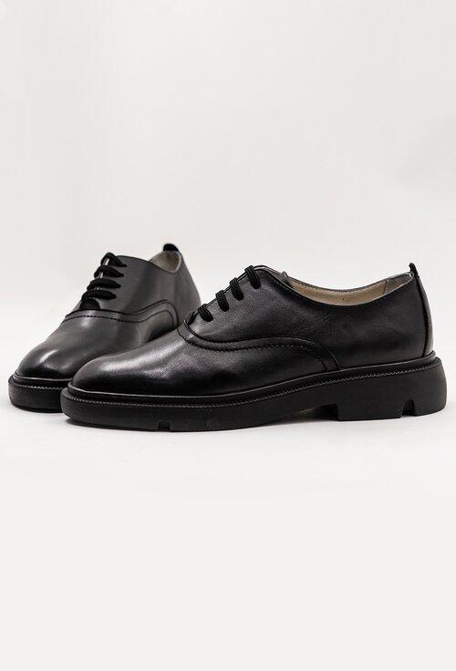 Pantofi clasici negri din piele naturala cu siret