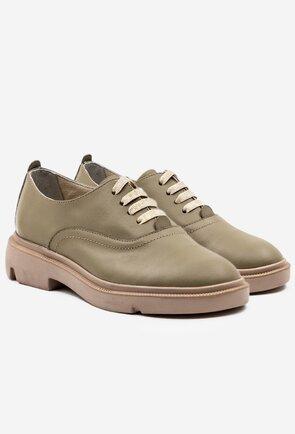 Pantofi din piele naturala nuanta olive deschis