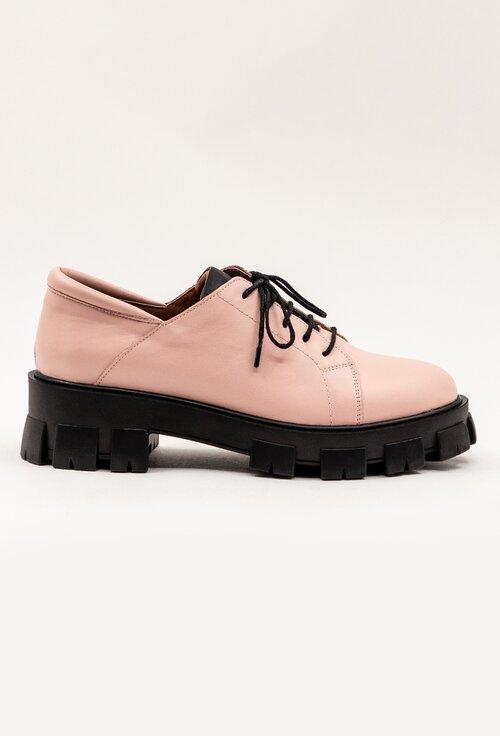 Pantofi din piele naturala nuanta roz pal