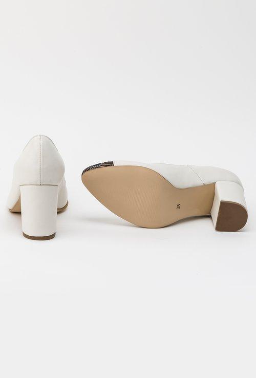 Pantofi office albi din piele naturala Matilda