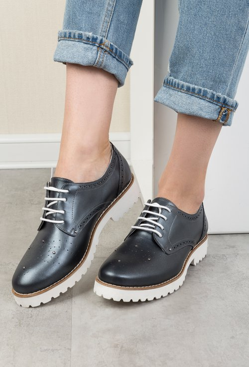 Pantofi Oxford din piele naturala gri metalizat Malini