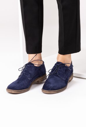 Pantofi Oxford bleumarin din piele naturala intoarsa