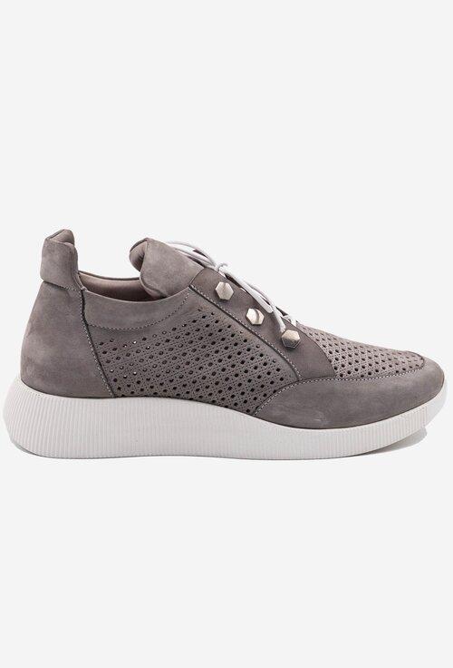 Pantofi sport din piele intoarsa perforata