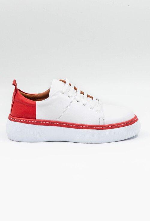 Pantofi sport din piele naturala in nuante de alb si rosu