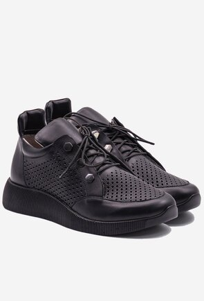 Pantofi sport negri din piele naturala perforata
