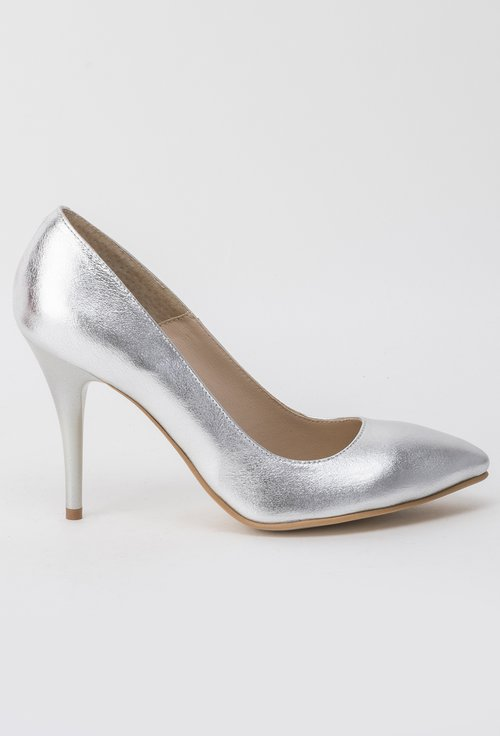 Pantofi Stiletto argintii din piele naturala Kristen