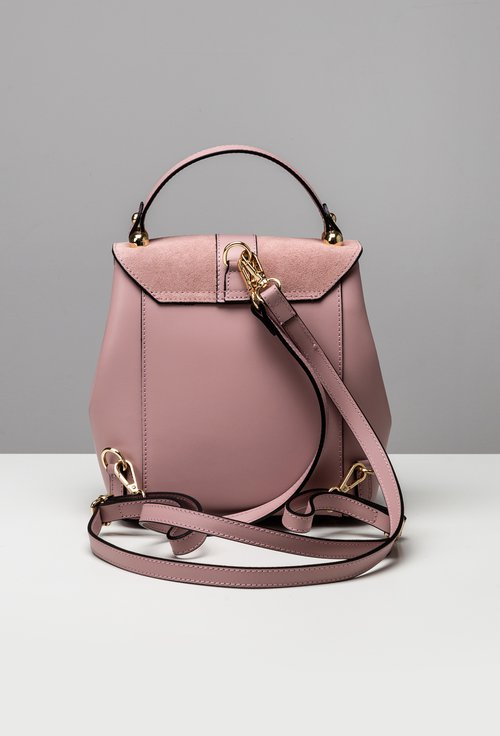 Poseta roz din piele naturala cu maner