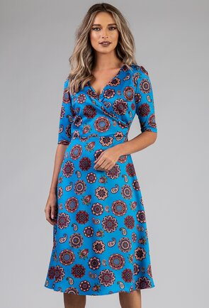 Rochie albastra cu imprimeu abstract mandala