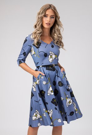 Rochie albastra cu imprimeu floral Antonela