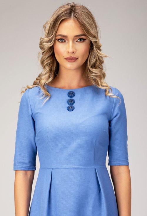 Rochie albastra cu nasturi decorativi Laris