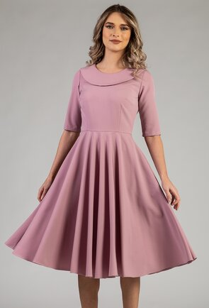 Rochie ampla roz pal prevazuta cu buzunare